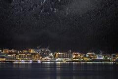 Nachtansichten von Achensee und von Pertisau von Maurach, Österreich Lizenzfreie Stockfotos