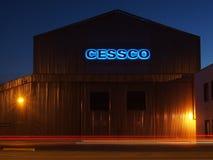 Nachtaufnahme der Fabrikationsanlage Edmonton Alberta Stockfotografie