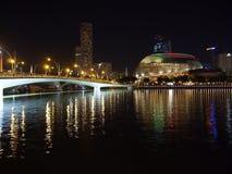 Nachtaufnahme der Hafenansicht Marina Bay Sandss in Singapur Lizenzfreie Stockfotografie