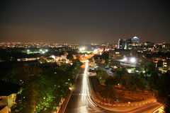 Nachtaufnahme von Johannesburg, Sandton stockfotografie