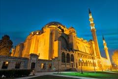 Nachtaufnahme von Suleymaniye-Moschee, eine Osmanekaisermoschee gelegen auf dem dritten Hügel von Istanbul, die Türkei und das zw Lizenzfreie Stockfotos