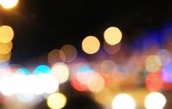 Nachtaufnahme von Unschärfe bokeh Beschaffenheitstapeten Stockfotos