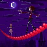 Nachtbalancieren des Valentinsgrußes Stockbild