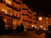Nachtbalkone Stockfotografie