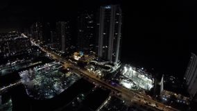 Nachtbaustelle Sunny Isles Beach FL 4k stock video