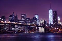 Nachtbeeld van de Brug van Brooklyn Royalty-vrije Stock Foto