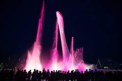 Nachtbeleuchtung olympischen Brunnens Sochis Stockbilder
