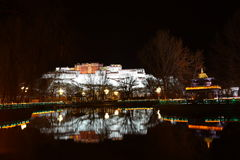 Nachtblik van Potala-Paleis Stock Fotografie