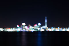 Nachtcityscape abstracte achtergrond, vage foto bokeh Royalty-vrije Stock Foto's