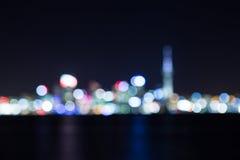Nachtcityscape abstracte onduidelijk beeldachtergrond Royalty-vrije Stock Fotografie