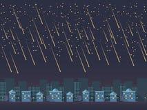 Nachtcityscape beeldverhaal vectorillustratie in modern vlak materieel ontwerp Stock Afbeelding