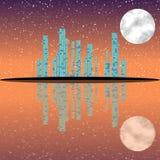 Nachtcityscape illustratie met gebouwen op eiland Volle maanhemel royalty-vrije illustratie