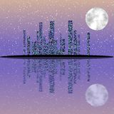 Nachtcityscape illustratie met gebouwen op eiland Volle maanhemel stock illustratie