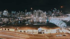 Nachtcityscape Timelapse Darling Harbour Skyline Sydney Australia stock footage