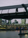 Nachtcityscape van de Rivier Theems, Londen royalty-vrije stock foto