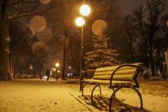 Nachtcityscape, Zaal Stock Foto