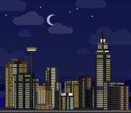 Nachtcityscape, Zaal Het vlakke centrum van het de stadsbureau van wolkenkrabber moderne gebouwen, woon het blokbuitenkant van he stock illustratie