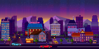 Nachtcityscape, Zaal Vector illustratie vector illustratie