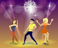 Nachtclub, partijen Mensen die Pret hebben Royalty-vrije Stock Afbeelding