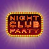Nachtclubpartei Retro- helle Fahne 3d mit glänzenden Birnen Rotes Zeichen mit den grünen und gelben Lichtern auf dunklem Hintergr Lizenzfreie Stockfotos
