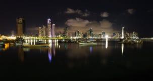 Nachtdaling van de Stad van Panama, Panama Royalty-vrije Stock Afbeelding