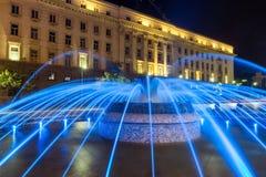 Nachtfoto van Fontein voor de Bouw van het Voorzitterschap in Sofia, Bulgarije Stock Foto