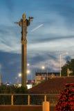 Nachtfoto van Onafhankelijkheidsvierkant en het monument van Hagia Sophia in stad van Sofia, Bulgarije Stock Afbeeldingen