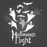 Nachtgeist- und -schlägerfliegen Halloweens dunkles Hand gezeichnete Kreidemalerei auf chalkbourd Stockbild