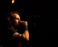 Nachtgeschrei Frontman Hotti. Frontman of the German metal folk rock band NACHTGESCHREI at MATRIX in Bochum (4th of march 2011 stock photo