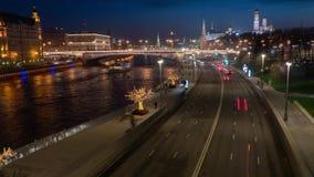 Nachtgroßstadtluftlandschaftszeitspanne stock footage