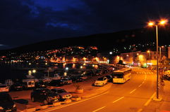 Nachthafen Senj Lizenzfreies Stockbild