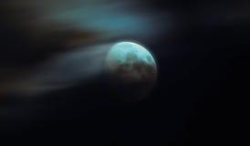 Nachthemel met maan en wolken Stock Fotografie
