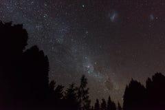 Nachthemel met miljoenen van sterren en Melkachtige manier in Nieuw Zeeland Royalty-vrije Stock Afbeeldingen