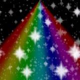 Nachthemel met regenboog royalty-vrije illustratie