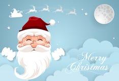 Nachthemel met Santa Claus en volle maan, wolkenachtergrond, p Royalty-vrije Stock Foto