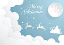 Nachthemel met Santa Claus en volle maan, wolkenachtergrond, p Royalty-vrije Stock Fotografie