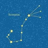 Nachthemel met Scorpius-Constellatieillustratie Stock Foto