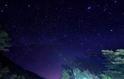 Nachthemel met sterren en melkachtig stock foto's