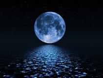 Nachthemel met sterren en volle maanachtergrond Stock Afbeelding