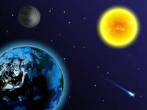 Nachthemel met veel Sterren De zon, de aarde, de maan en de komeet op een zwarte achtergrond Stock Afbeelding