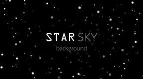 Nachthemel met witte sterren op zwarte achtergrond Donker astronomie ruimtemalplaatje Melkweg sterrig patroon voor behang stock illustratie