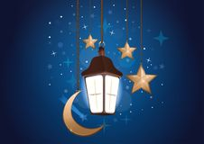 Nachthintergrund mit Mond, Sternen und Laterne stock abbildung