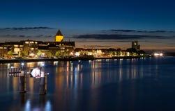 Nachthorizon van Historische Stad van Kampen, Nederland Royalty-vrije Stock Fotografie