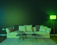 Nachtinnenraum mit grünen farbigen Lichtern stockfotografie