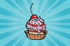 Nachtisch des kleinen Kuchens mit Kirschen und Creme vektor abbildung