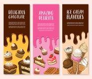 Nachtisch, Eiscreme und Schokoladengebäckfahnensatz vektor abbildung