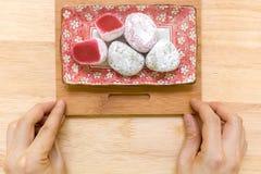 Nachtisch für Tee-Hintergrund/Nachtisch für Tee/Nachtisch für Tee auf hölzernem Hintergrund Lizenzfreie Stockfotografie