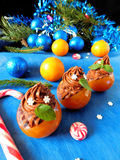 Nachtisch gemacht von den Mandarinen und von der Schokolade Lizenzfreies Stockfoto