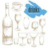 Nachtisch, Menü, Getränke, Tee, Kaffee, Cocktail, Alkoholgläser, Flasche, Menü, Muster, Muster stockbild