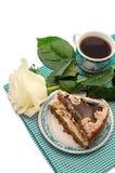 Nachtisch mit Blumen und Kaffee Lizenzfreie Stockfotografie